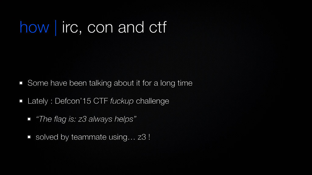how | irc, con and ctf Some have been talking a...