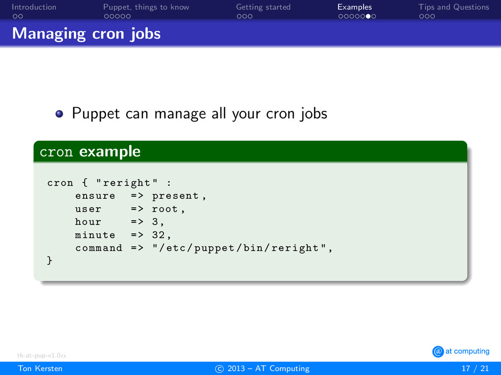 Introduction Puppet, things to know Getting sta...