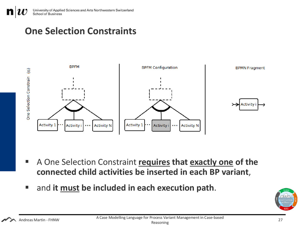 Andreas Martin - FHNW One Selection Constraints...