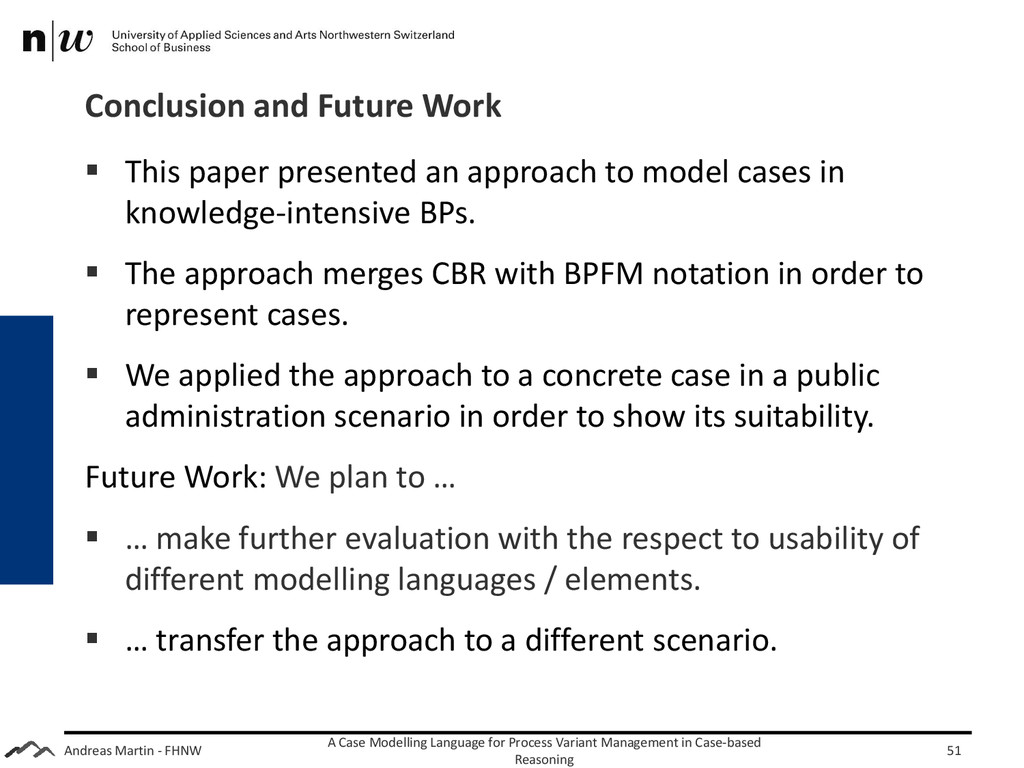 Andreas Martin - FHNW Conclusion and Future Wor...