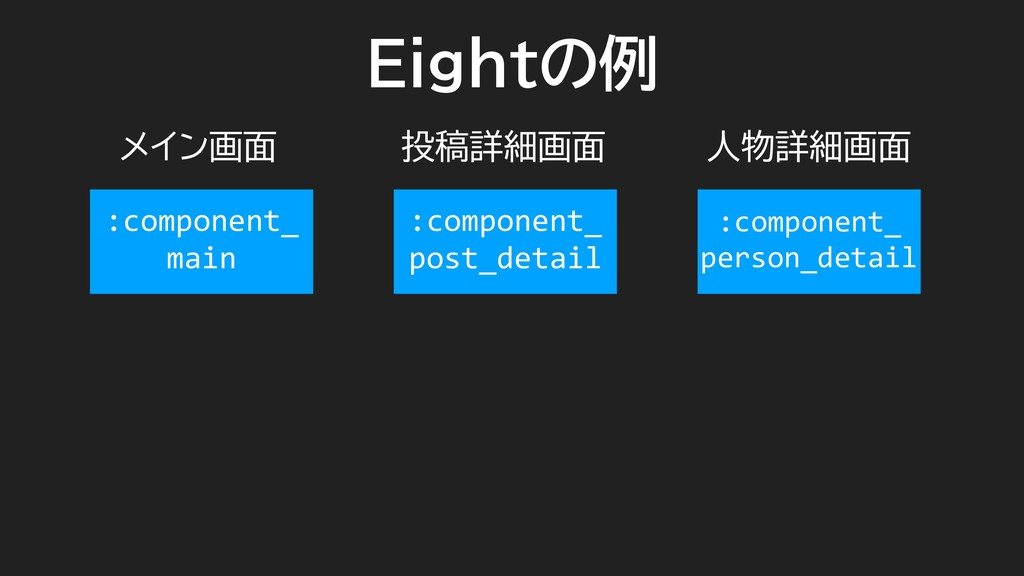 Eightの例 メイン画面 投稿詳細画面 人物詳細画面 :component_ main :c...