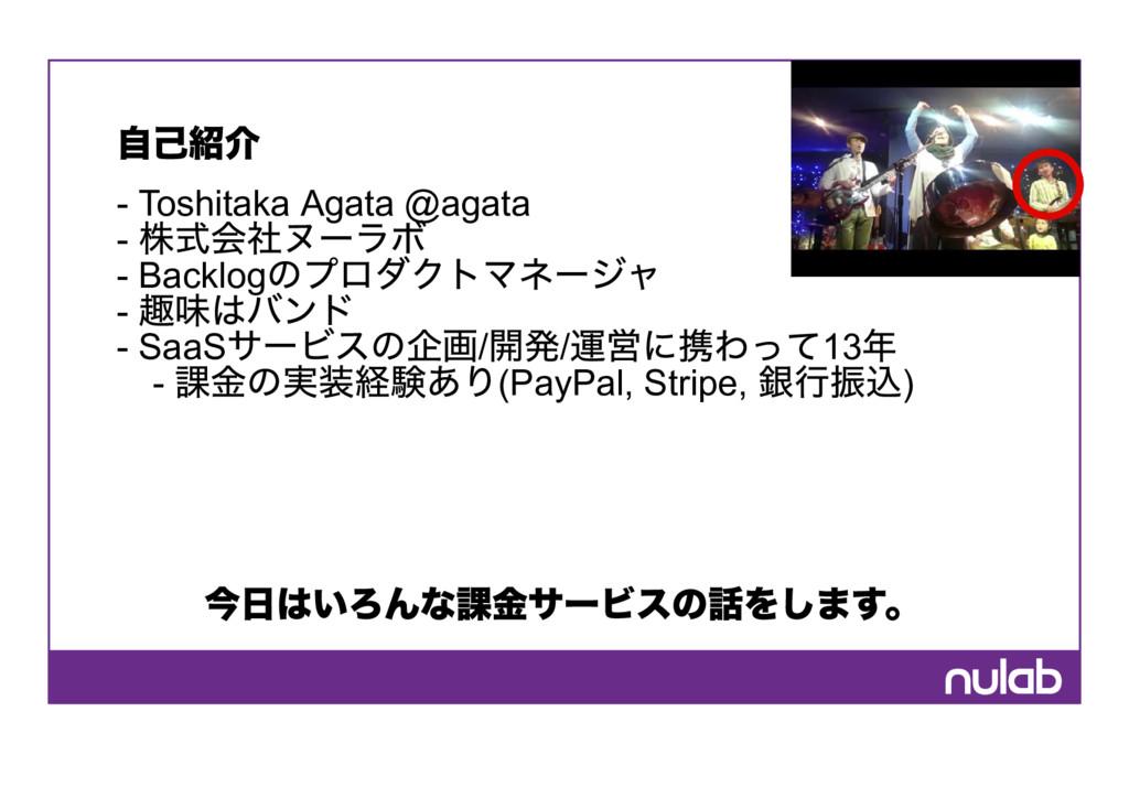 自己紹介  Toshitaka Agata @agata  株式会社ヌーラボ  Back...