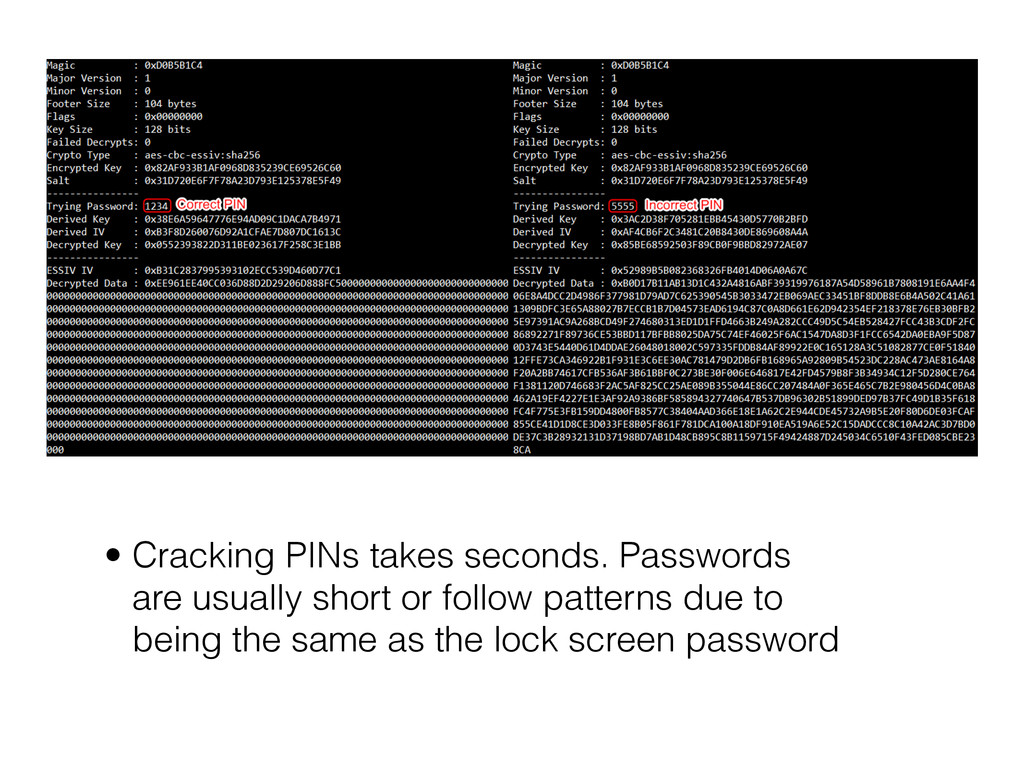 • Cracking PINs takes seconds. Passwords are us...