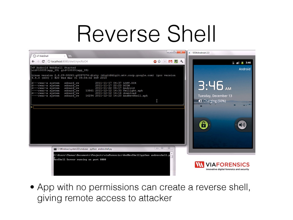 Reverse Shell • App with no permissions can cre...