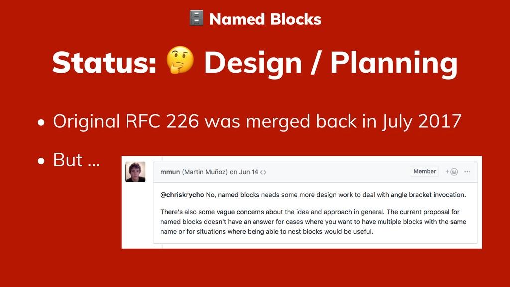 Status:  Design / Planning • Original RFC 226 w...