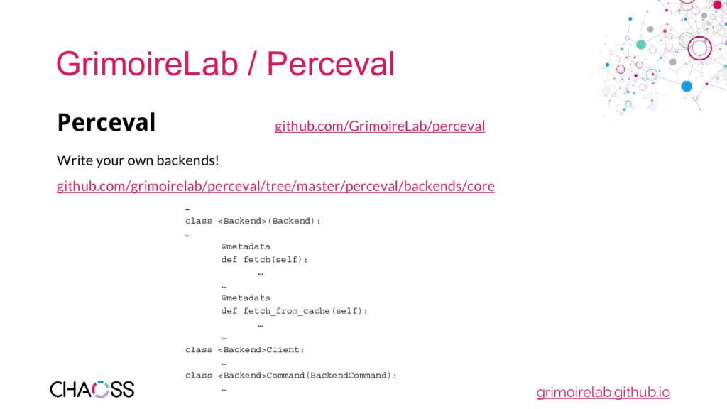 GrimoireLab / Perceval Perceval github.com/Grim...