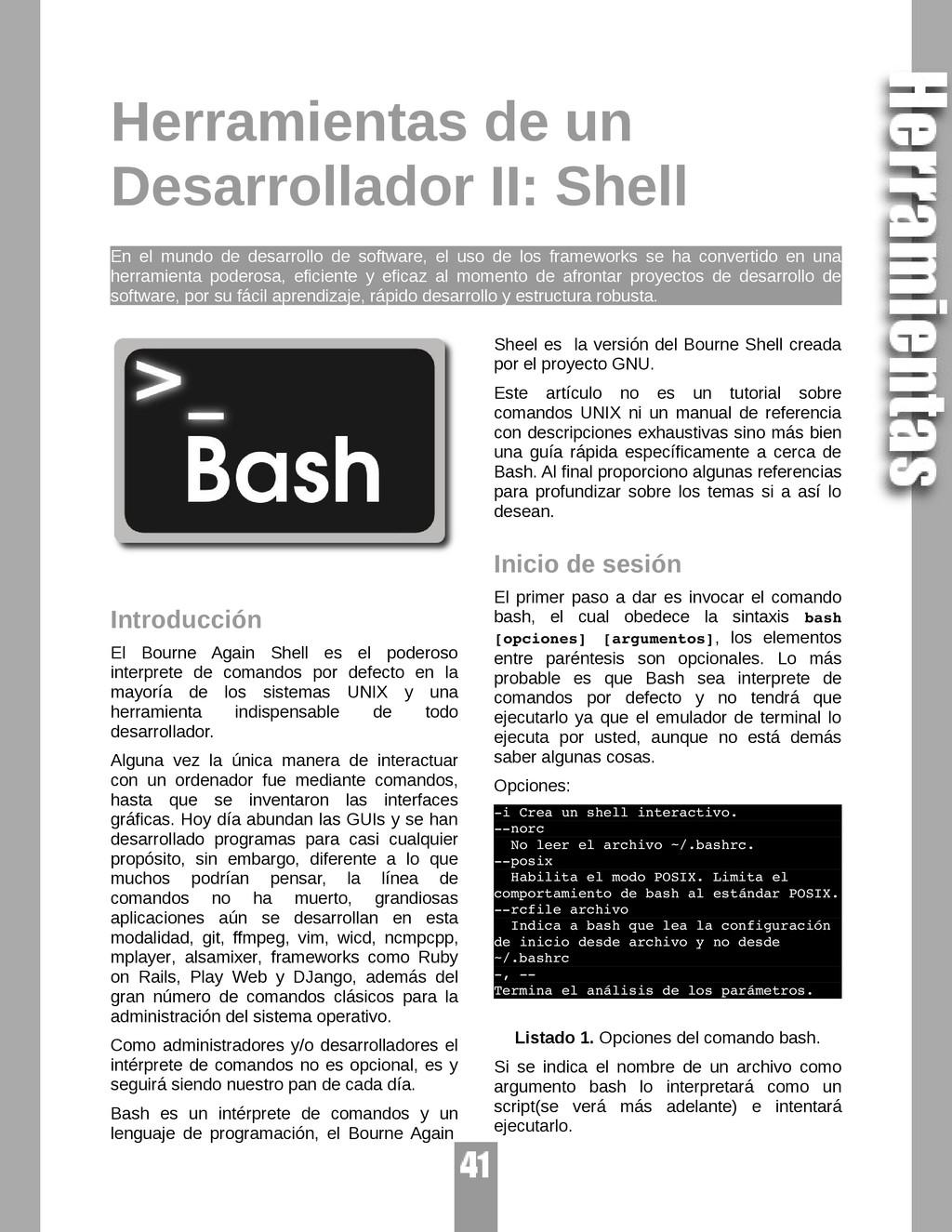 Herramientas de un Desarrollador II: Shell En e...