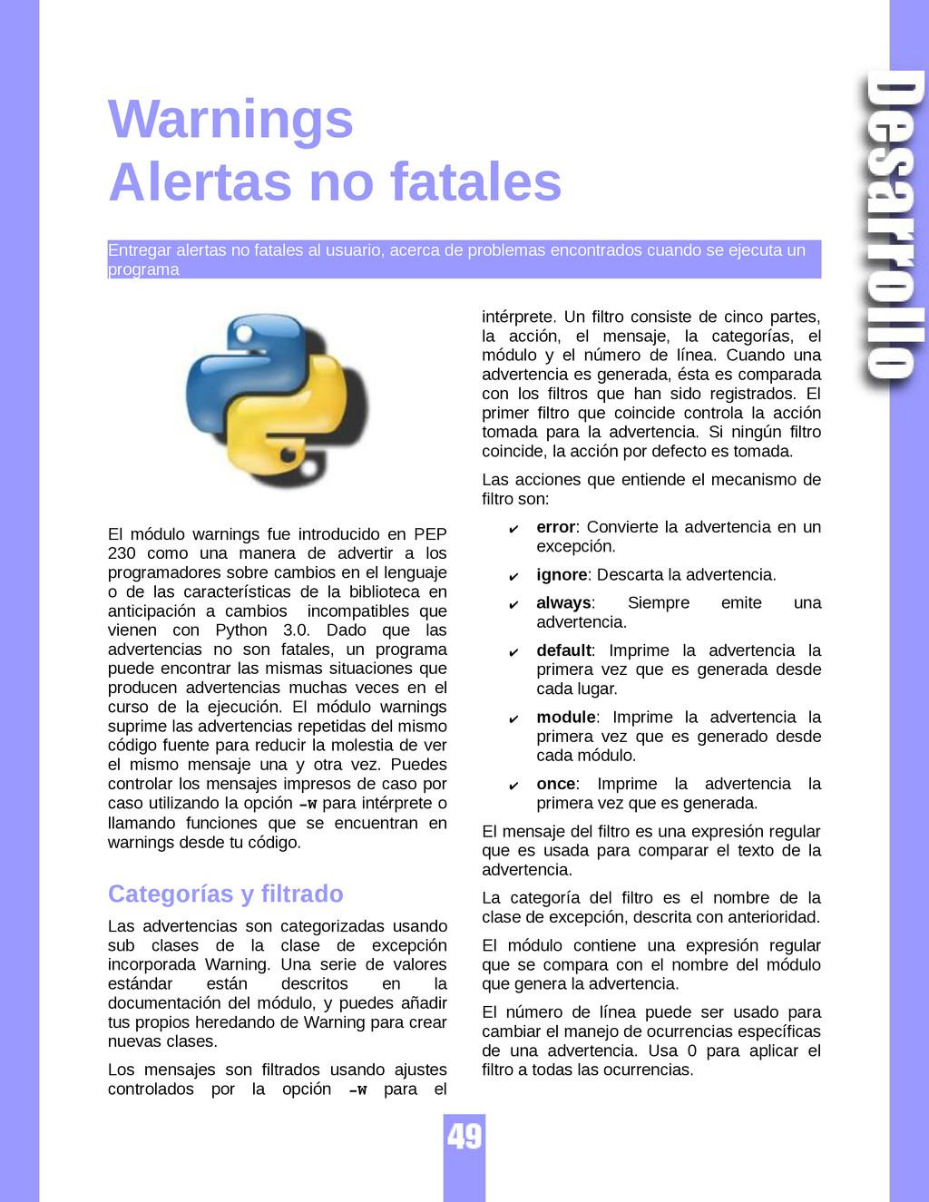 Warnings Alertas no fatales Entregar alertas no...