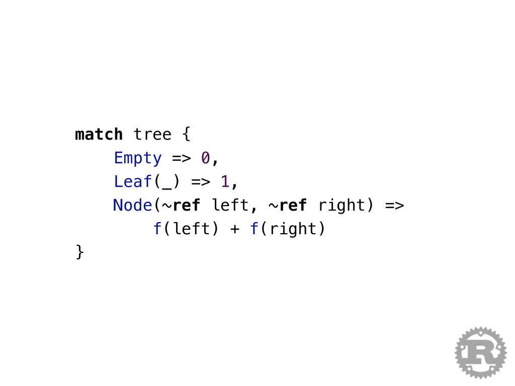 match tree { Empty => 0, Leaf(_) => 1, Node(~re...