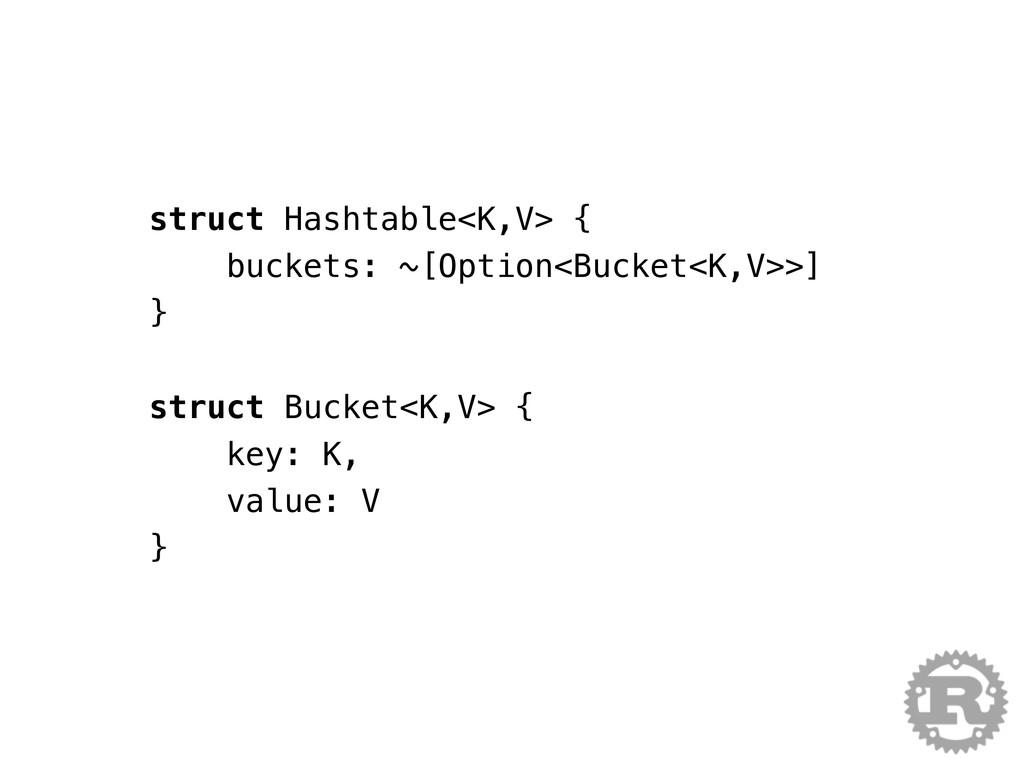 struct Hashtable<K,V> { buckets: ~[Option<Bucke...