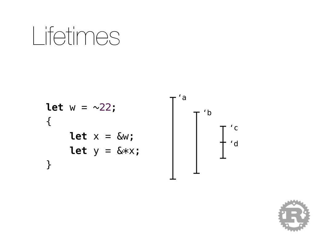 let w = ~22; { let x = &w; let y = &*x; } 'a 'b...
