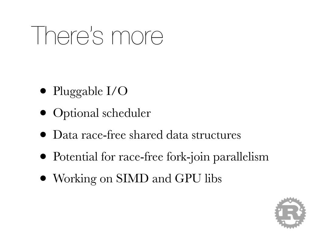 • Pluggable I/O • Optional scheduler • Data rac...