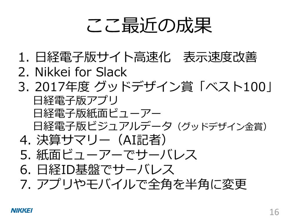 ここ最近の成果 1. 日経電子版サイト高速化 表示速度改善 2. Nikkei for Sla...