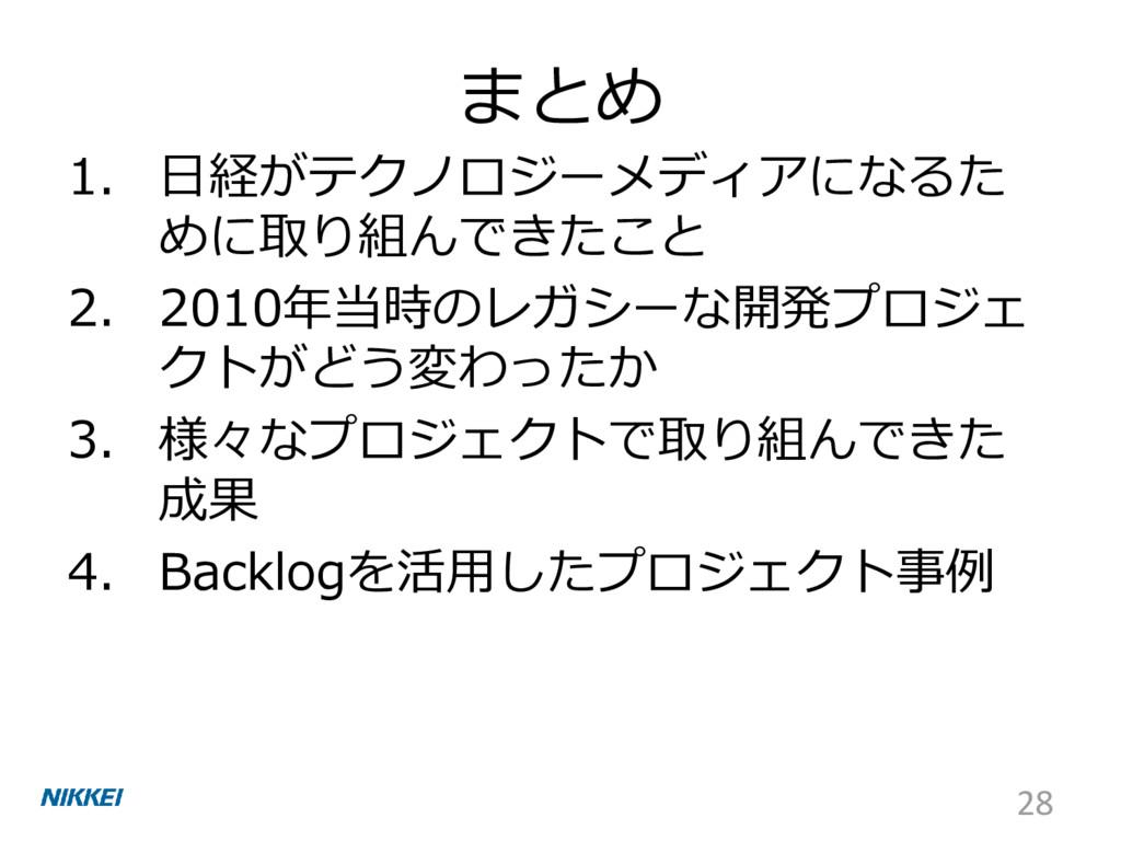 まとめ 1. 日経がテクノロジーメディアになるた めに取り組んできたこと 2. 2010年当時...