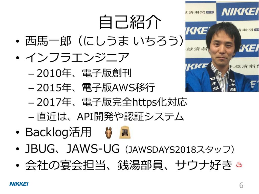 自己紹介 • 西馬一郎(にしうま いちろう) • インフラエンジニア – 2010年、電子版創...