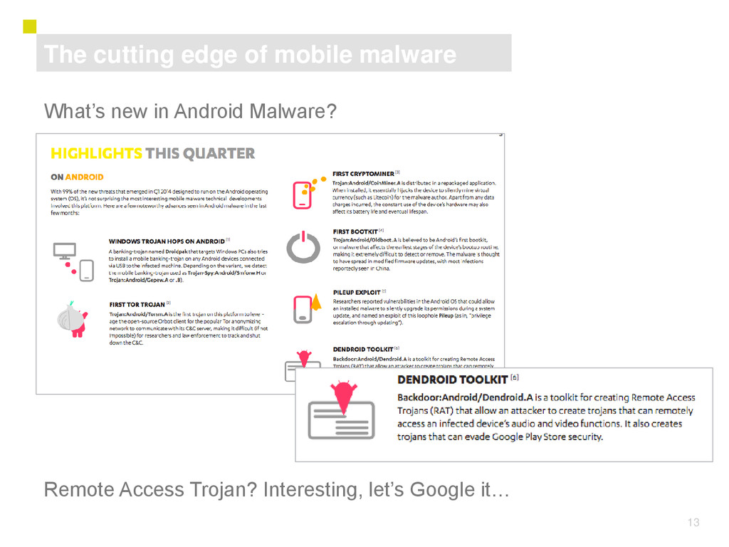 13 What's new in Android Malware? The cutting e...
