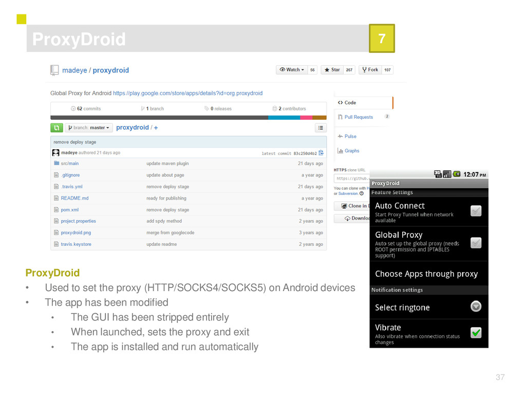 37 ProxyDroid • Used to set the proxy (HTTP/SOC...