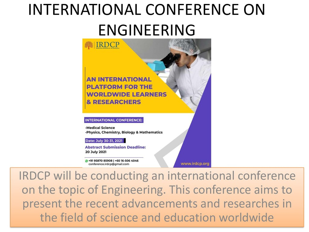 INTERNATIONAL CONFERENCE ON ENGINEERING IRDCP w...
