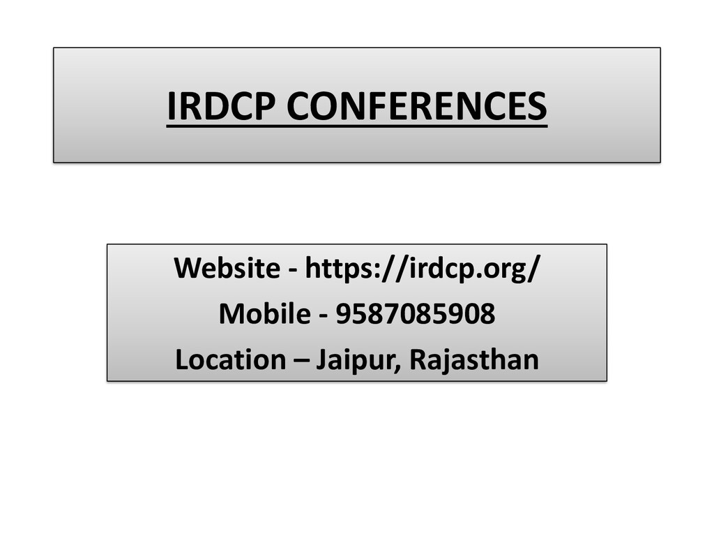 IRDCP CONFERENCES Website - https://irdcp.org/ ...