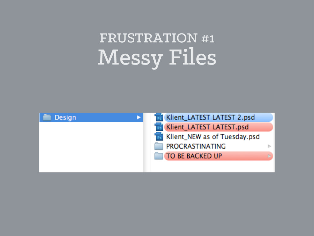 FRUSTRATION #1 Messy Files