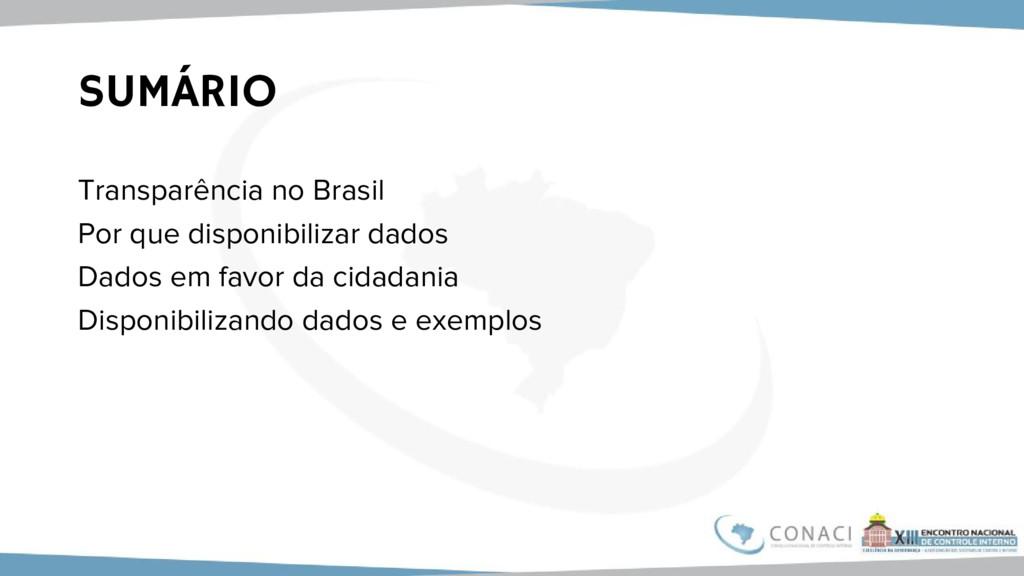 SUMÁRIO Transparência no Brasil Por que disponi...