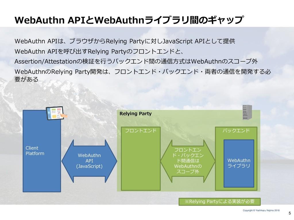 Copyright © Yoshikazu Nojima 2018 WebAuthn APIと...