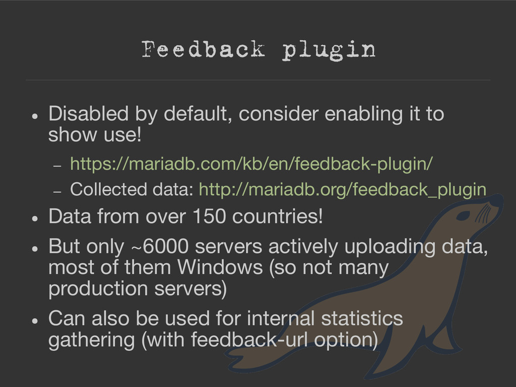 Feedback plugin ● Disabled by default, consider...