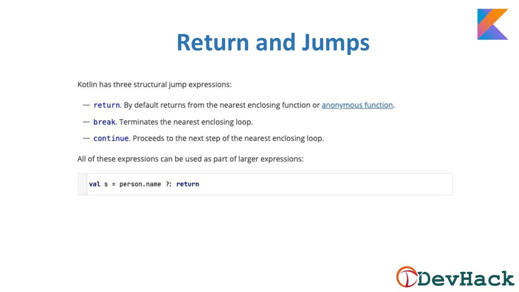 Return and Jumps