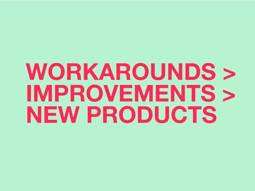 WORKAROUNDS > IMPROVEMENTS > NEW PRODUCTS