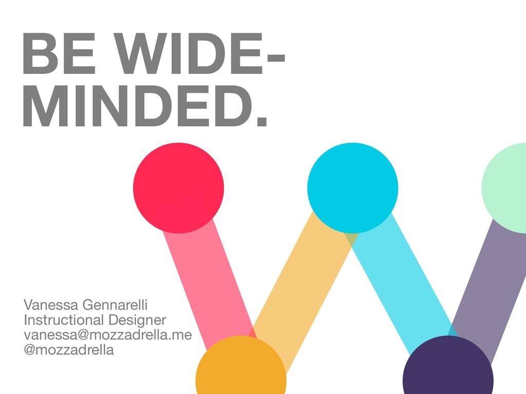 BE WIDE- MINDED. Vanessa Gennarelli  Instructio...