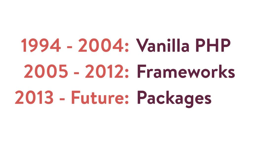 1994 - 2004: 2005 - 2012: 2013 - Future: Vanill...
