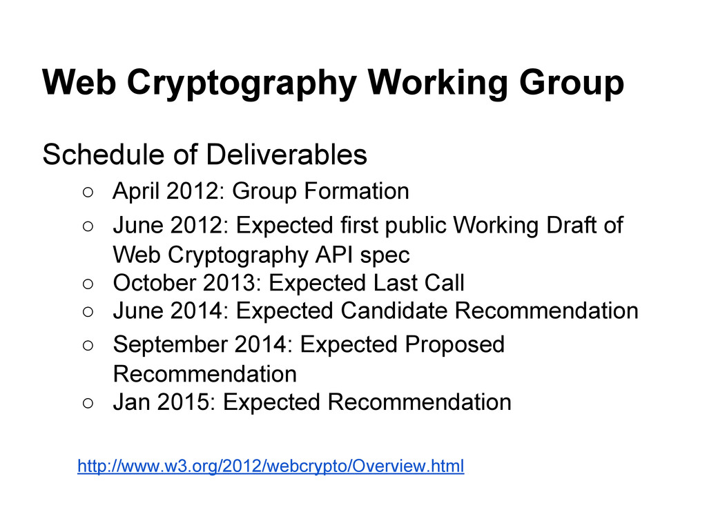 Web Cryptography Working Group Schedule of Deli...