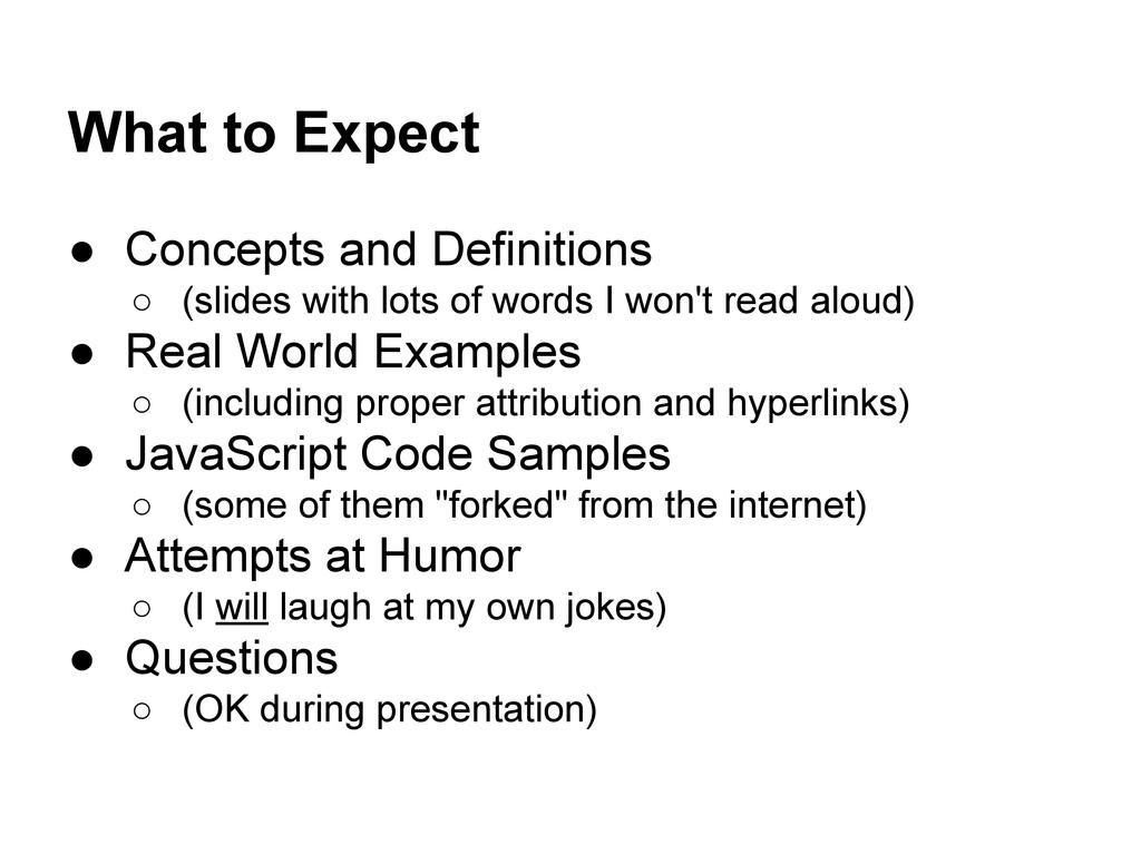 What to Expect ● Concepts and Definitions ○ (sl...