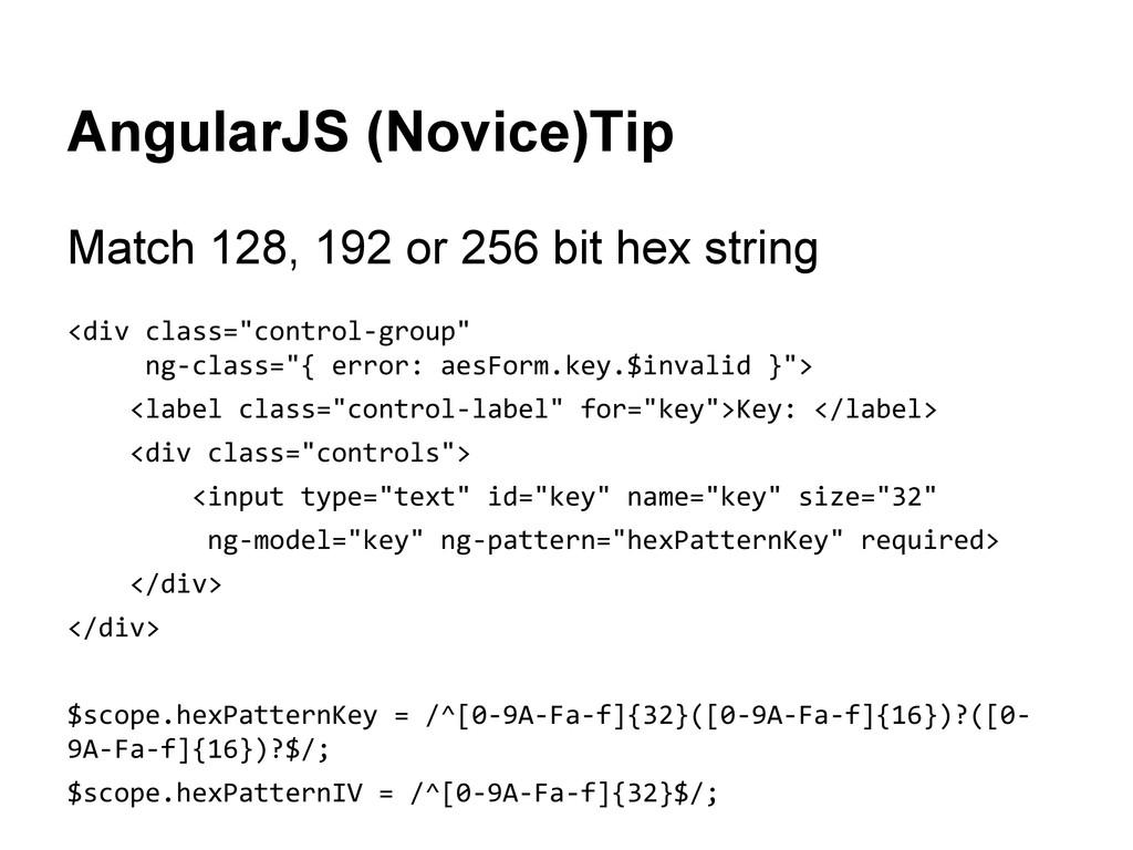 AngularJS (Novice)Tip Match 128, 192 or 256 bit...