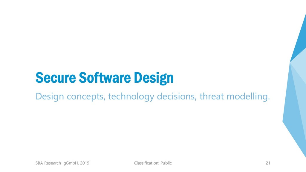 Classification: Public 21 Secure Software Desig...