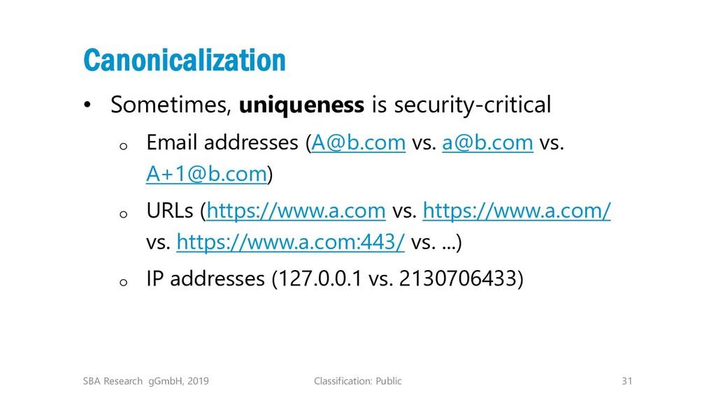 Classification: Public 31 Canonicalization • So...