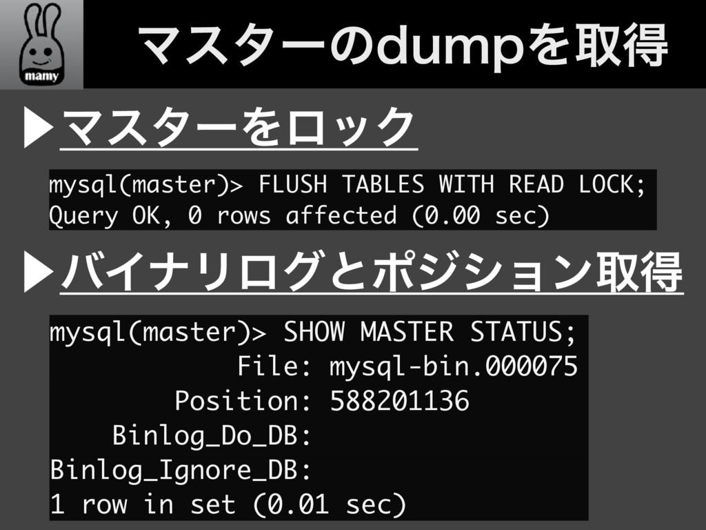 ɹɹϚελʔͷEVNQΛऔಘ ⾣ϚελʔΛϩοΫ mysql(master)> FLUSH T...