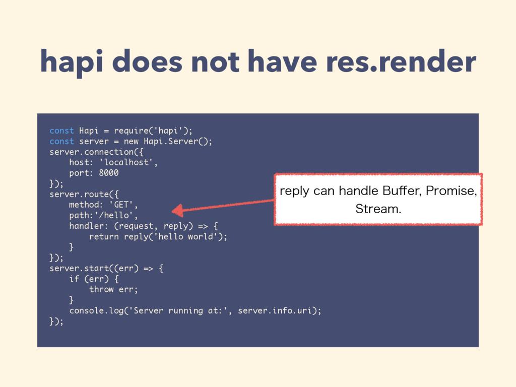 hapi does not have res.render const Hapi = requ...