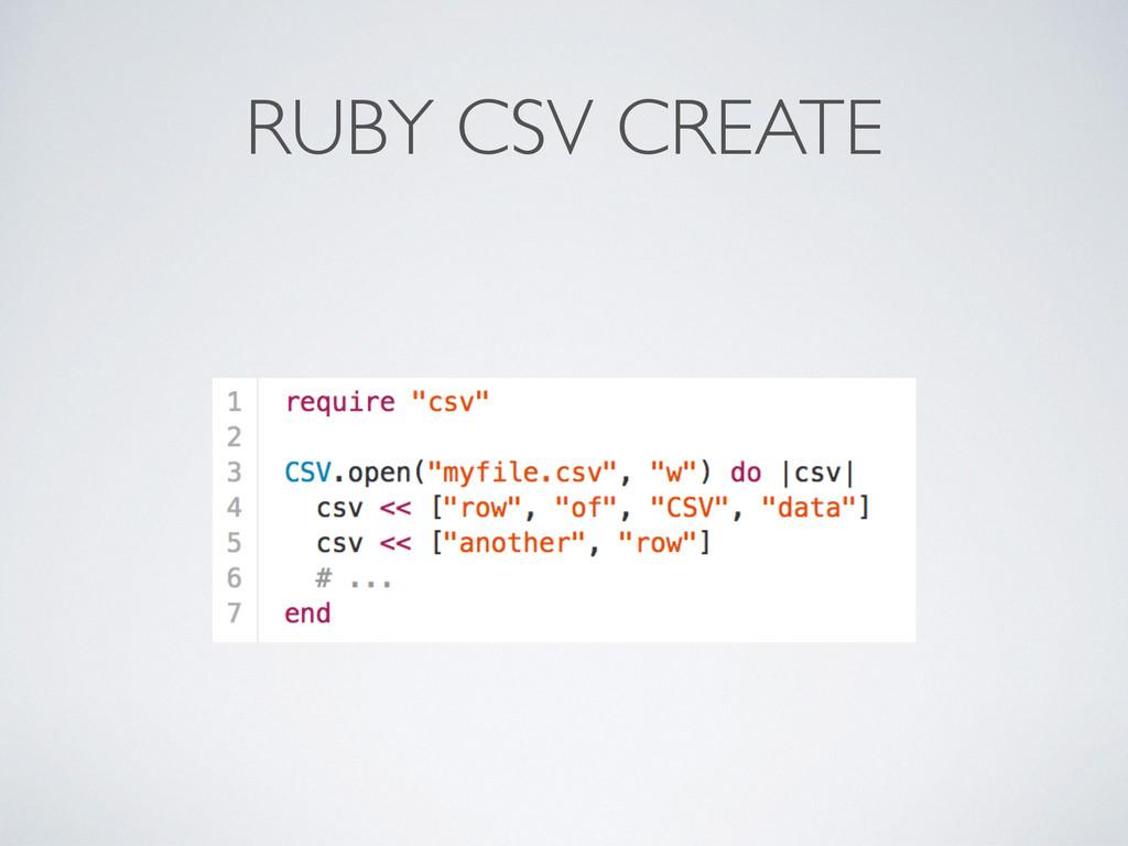 RUBY CSV CREATE