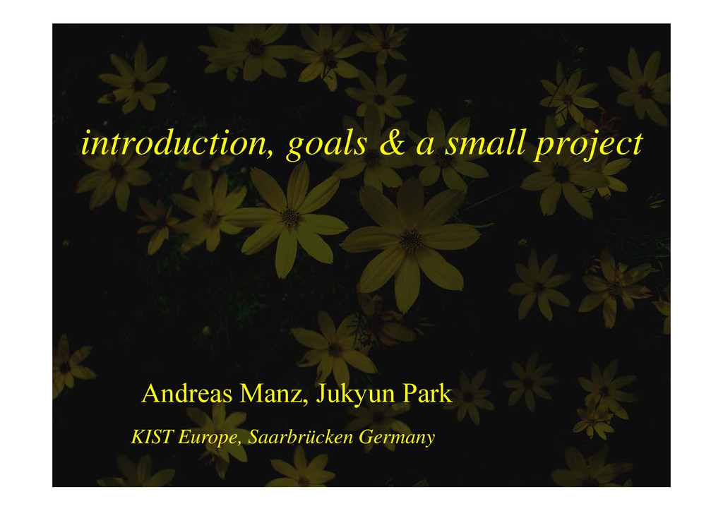 introduction goals & a small project introducti...