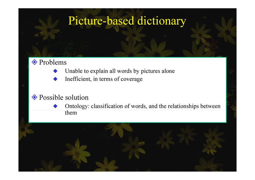 Picture-based dictionary Problems  U bl t l i...