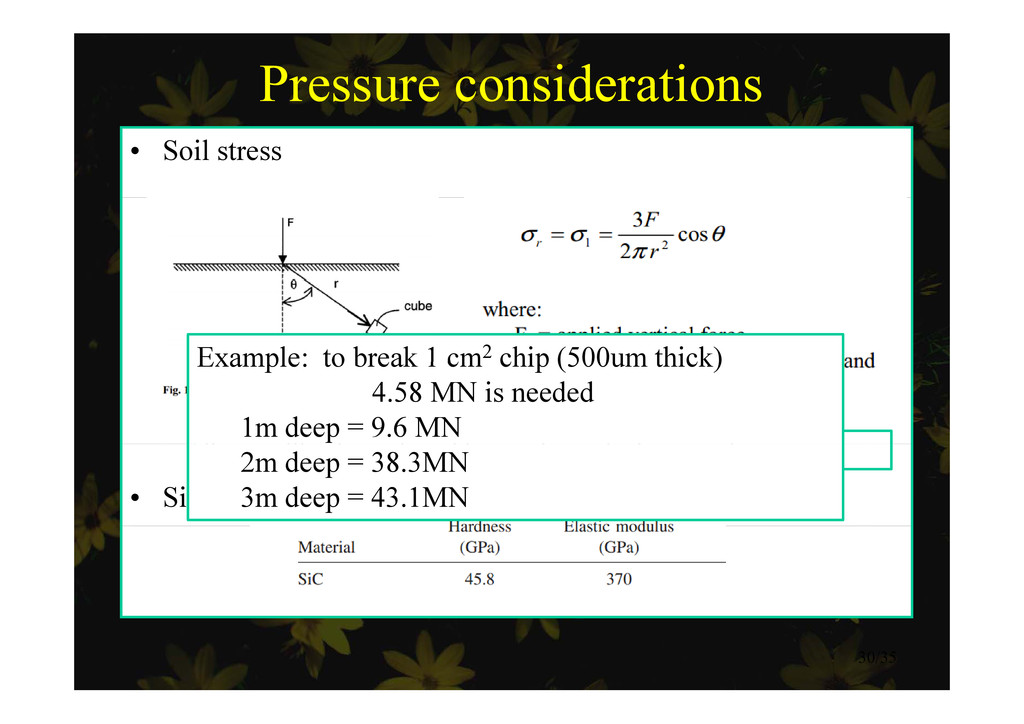 Pressure considerations • Soil stress Example: ...
