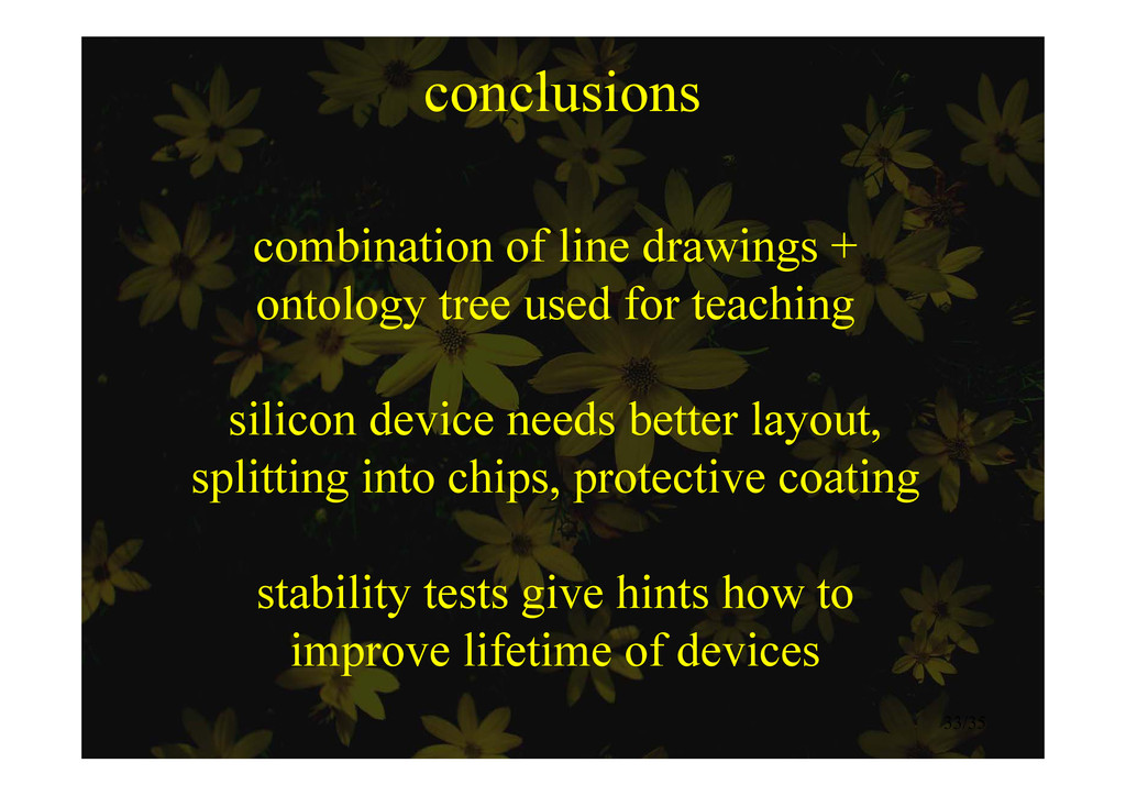 conclusions combination of line drawings + onto...