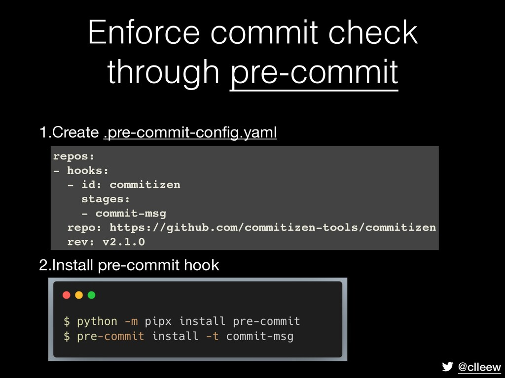 @clleew Enforce commit check through pre-commit...
