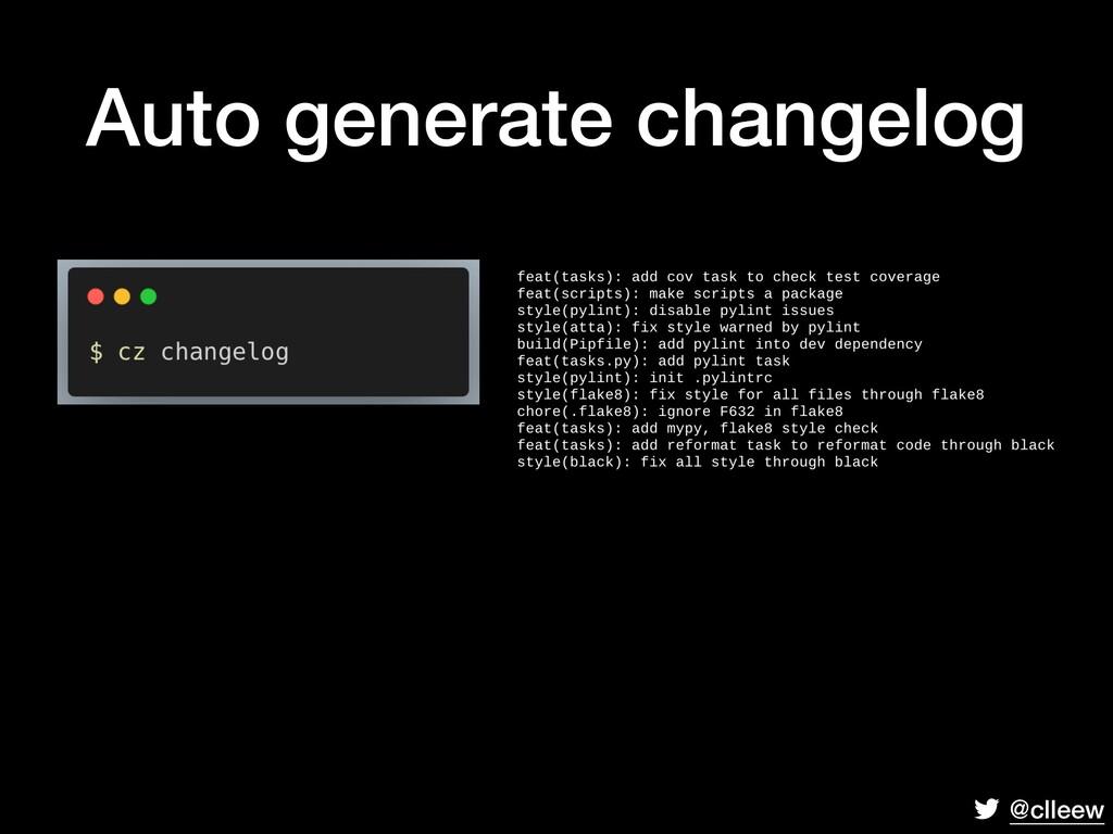 @clleew Auto generate changelog