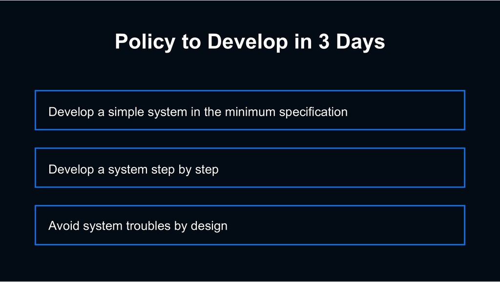 Policy to Develop in 3 Days Develop a simple sy...