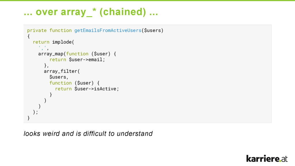 ... over array_* (chained) ... private function...