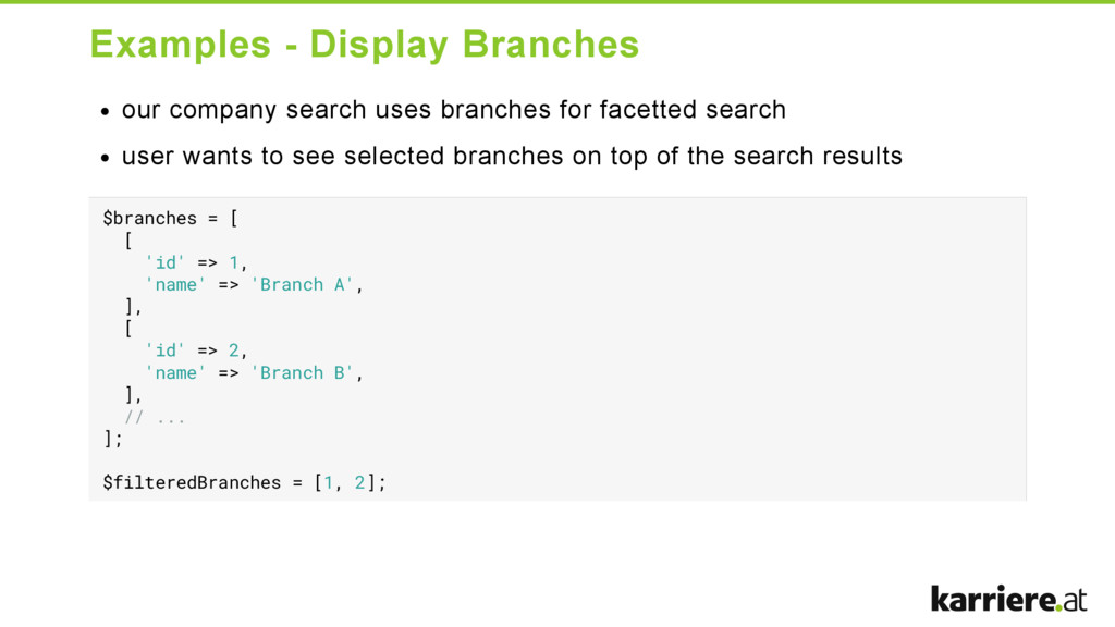 Examples  Display Branches our company search ...
