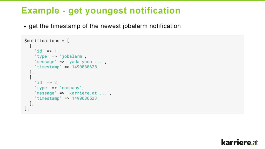 Example  get youngest notification get the tim...
