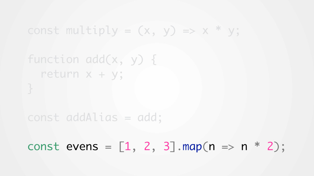 const multiply = (x, y) => x * y; function add(...